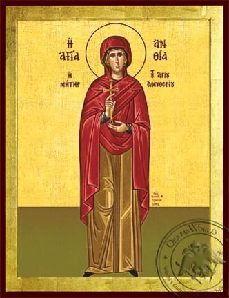 Saint Anthia Martyr Mother of Saint Eleutherius Full Body - Byzantine Icon