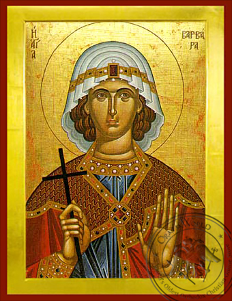 Saint Barbara, the Great Martyr - Byzantine Icon
