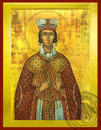 Saint Barbara, the Great Martyr - Byzantine Icon