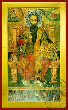 Saint Basil the Great, Archbishop of Caesarea, Cappadocia, Enthroned - Byzantine Icon