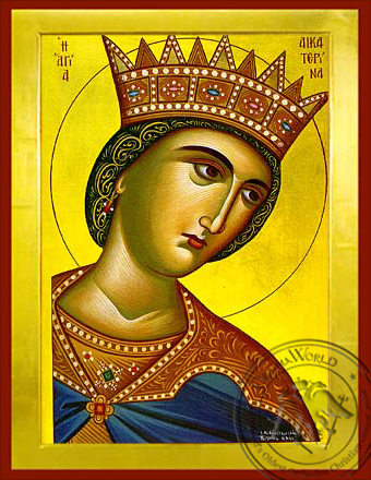 Saint Catherine the Great Martyr, of Alexandria, Bust - Byzantine Icon