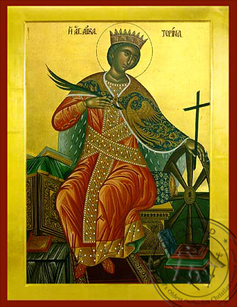 Saint Catherine the Great Martyr, of Alexandria, Enthroned - Byzantine Icon