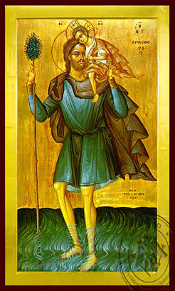 Saint Christopher, the Great Martyr, Full Body - Byzantine Icon
