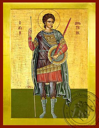 Saint Demetrius the Myrrh-Gusher, Full Body - Byzantine Icon