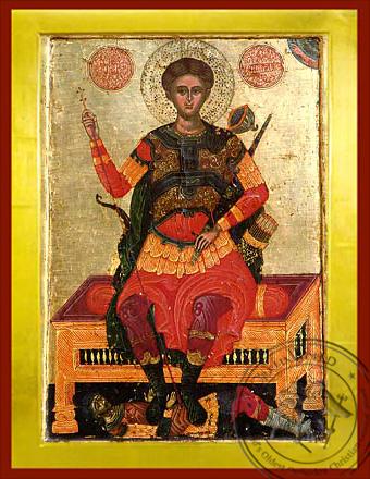 Saint Demetrius the Myrrh-Gusher, Enthroned - Byzantine Icon