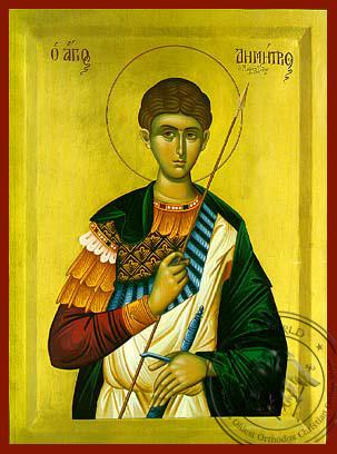 Saint Demetrius the Myrrh-Gusher, Half - Byzantine Icon