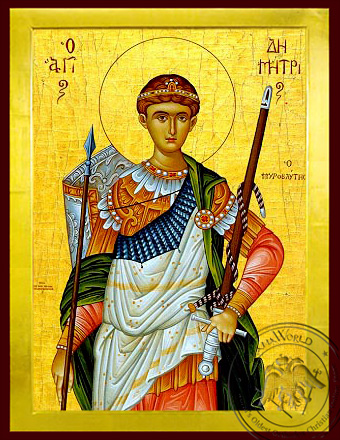 Saint Demetrius the Myrrh-Gusher, Half - Byzantine Icon