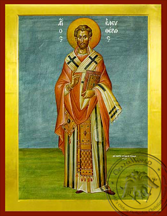 Saint Eleutherius, Hieromartyr, Bishop of Illyria, Full Body - Byzantine Icon