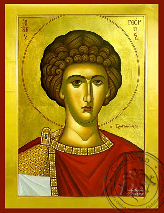 Saint George the Great Martyr, Bust - Byzantine Icon