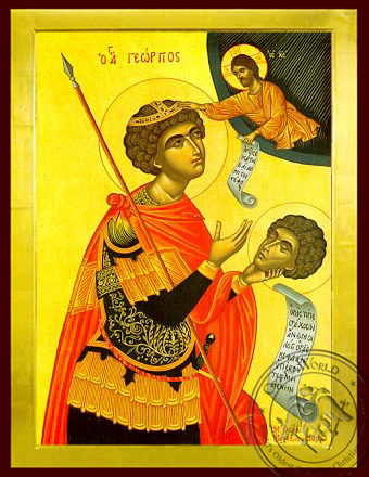 Saint George the Great Martyr, with Head - Byzantine Icon