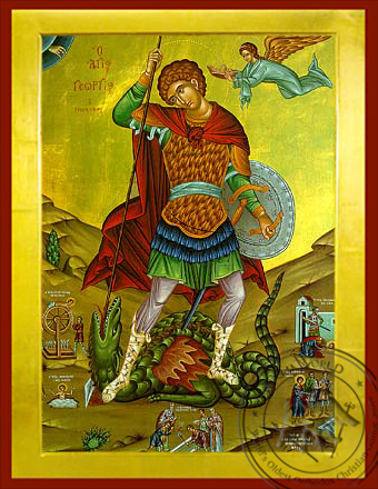 Saint George the Great Martyr, with Scenes from His Life, Full Body - Byzantine Icon