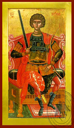 Saint George the Great Martyr, Enthroned - Byzantine Icon