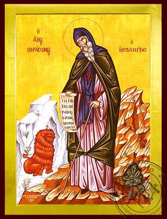 Saint Gerasimus of Jordan, Full Body - Byzantine Icon