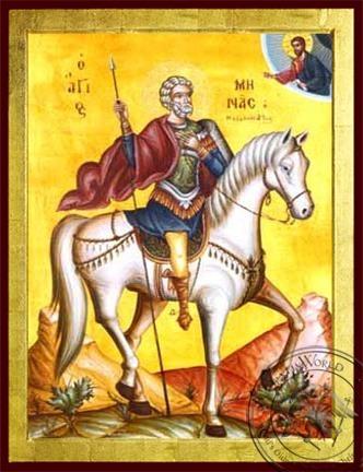 Saint Menas the Great Martyr of Egypt on Horseback - Byzantine Icon