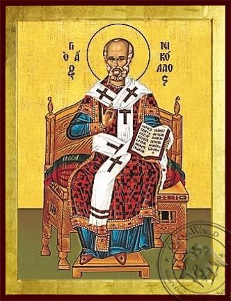 Saint Nicholas Archbishop of Myra in Lycia Enthroned - Byzantine Icon