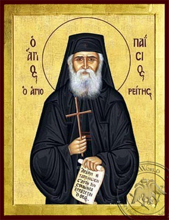 Saint Paisios of the Holy Mountain with Scroll and Cross - Byzantine Icon