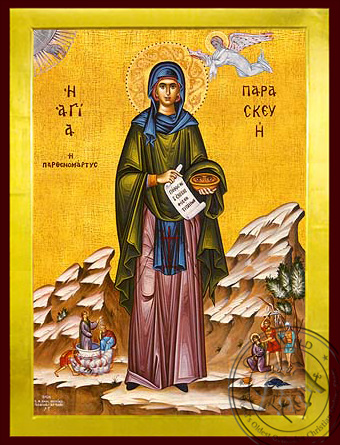 Saint Parasceve, the Great Martyr, of Rome, with Scenes from Her Life, Full Body - Byzantine Icon
