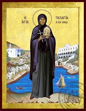 Saint Pelagia of Tenos Full Body - Byzantine Icon
