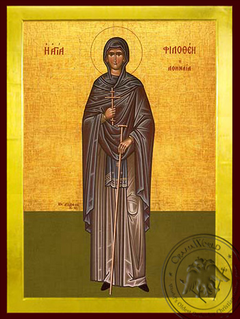 Saint Philothea, Nun-Martyr, of Athens, Greece, Full Body - Byzantine Icon