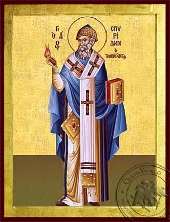 Saint Spyridon Bishop of Tremithon Cyprus Full Body - Byzantine Icon