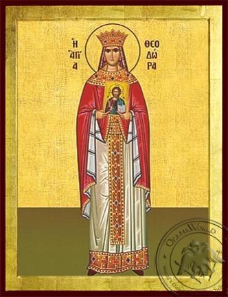 Saint Theodora the Empress of Byzantium Full Body - Byzantine Icon