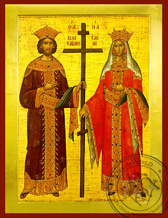 Saints Constantine and Helen, Full Body - Byzantine Icon
