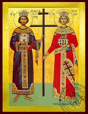 Saints Constantine and Helen, Full Body - Byzantine Icon