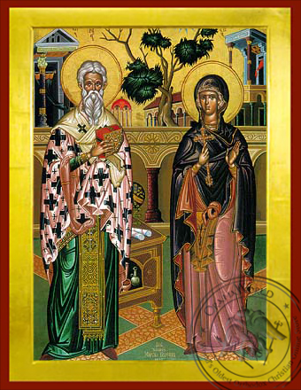 Saint Cyprian and Ioustine - Byzantine Icon
