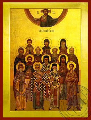 Saints from Euboea, Greece - Byzantine Icon