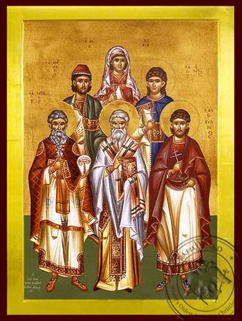 Saints Eustratius, Auxentius, Eugene, Mardarius, Orestes, Martyrs at Sebaste and Saint Lucy, Full Body - Byzantine Icon