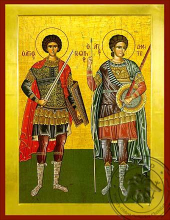 Saints George and Demetrius, Full Body - Byzantine Icon