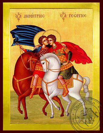 Saints George and Demetrius, on Horseback - Byzantine Icon