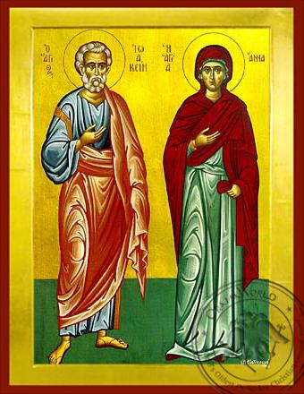 Saints Joachim and Anne, Righteous Ancestors of God, Full Body - Byzantine Icon