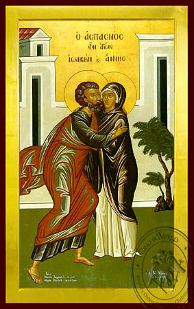 Saints Joachim and Anne, the Righteous Ancestors of God, the Embracement, Full Body - Byzantine Icon