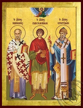 Saints Nicholas Archbishop of Myra in Lycia Panteleimon the Great Martyr Spyridon Bishop of Tremithon Cyprus Full Body - Byzanti