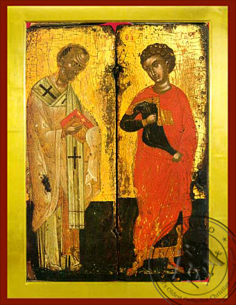 Saints Nicholas and George, Full Body - Byzantine Icon