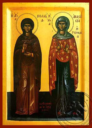 Saint Pelagia and Anastasia of Rome - Byzantine Icon