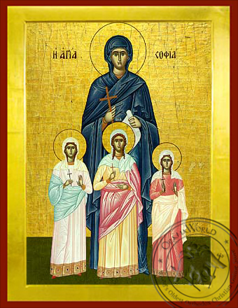 Saint Sophia and her Daughters - Byzantine Icon
