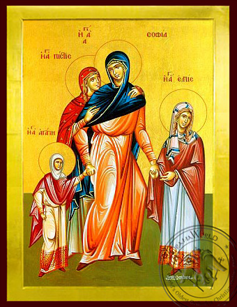 Saints Sophia and Daughters, Faith, Hope and Love, Full Body - Byzantine Icon
