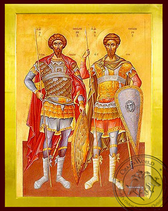 Saints Theodores the Great Martyrs, Tyro and Stratelates, Full Body - Byzantine Icon
