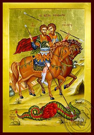 Saints Theodores Tiro and Stratelates - Byzantine Icon