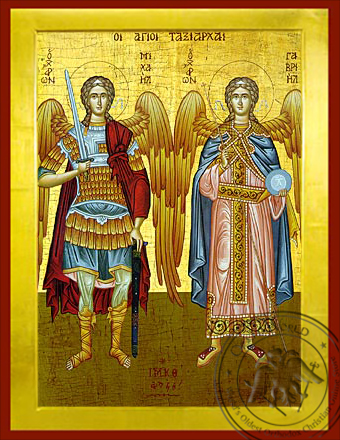 Michael and Gabriel the Holy Archangels - Byzantine Icon