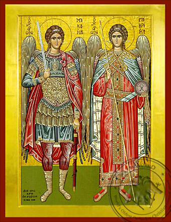 Synaxis of the Holy Archangels Michael and Gabriel, Full Body - Byzantine Icon