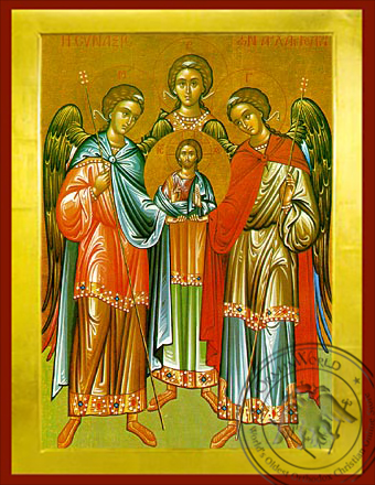 Synaxis of the Holy Archangels Michael, Gabriel and Raphael, Full Body - Byzantine Icon