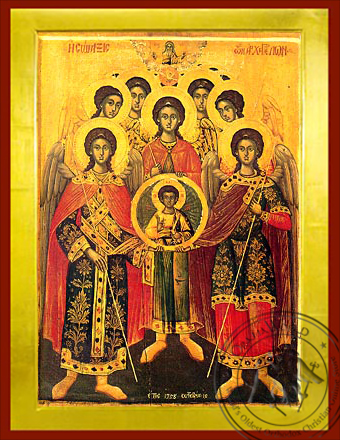 Synaxis of the Holy Archangels, Michael, Gabriel, Raphael, Uriel, Salaphiel, Jegudiel and Barachiel, Full Body - Byzantine Icon