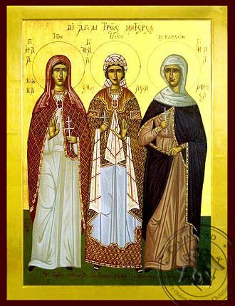 Nonna, Emmeleia and Athoussa the Three Holy Mothers - Byzantine