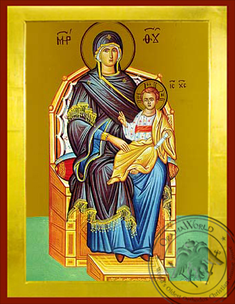 Virgin and Child, Enthroned - Byzantine Icon