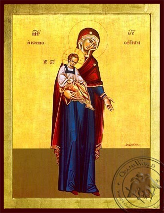Virgin and Child Saviour of the World Full Body - Byzantine Icon