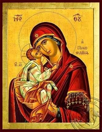 Virgin and Child Sweet Kissing - Byzantine Icon