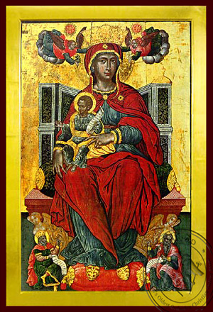 Virgin and Child, Enthroned, Higher Than the Heavens - Byzantine Icon